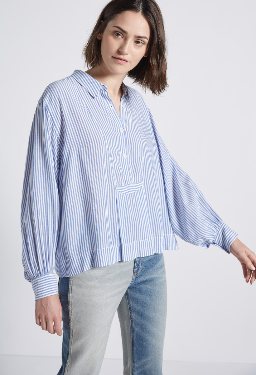 Current Elliott The Emmy Blouse Summer Stripes USA - GOOFASH - Womens BLOUSES