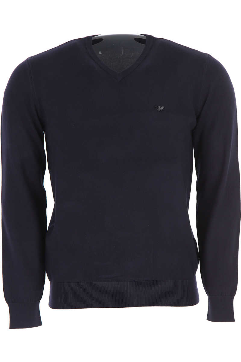 Emporio Armani Sweater for Men Jumper On Sale Navy Blue DK - GOOFASH - Mens SWEATERS