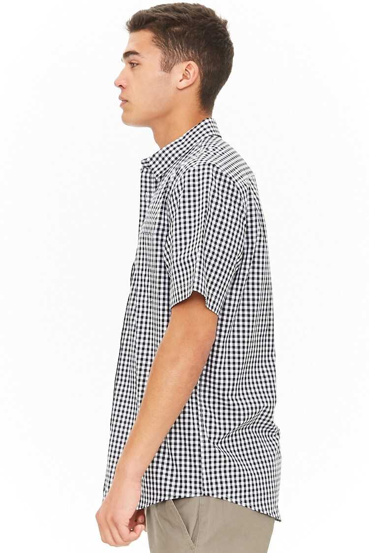 Fitted Gingham High-Low Shirt at Forever 21