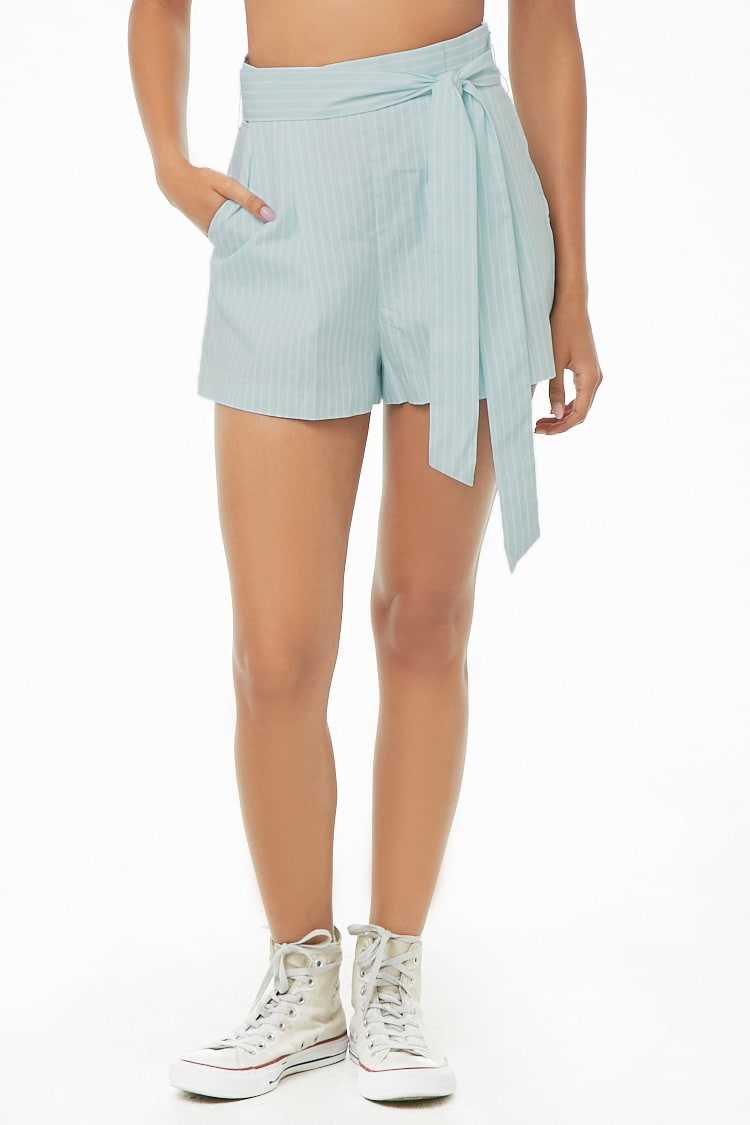 Forever 21 Belted Striped High-Rise Shorts