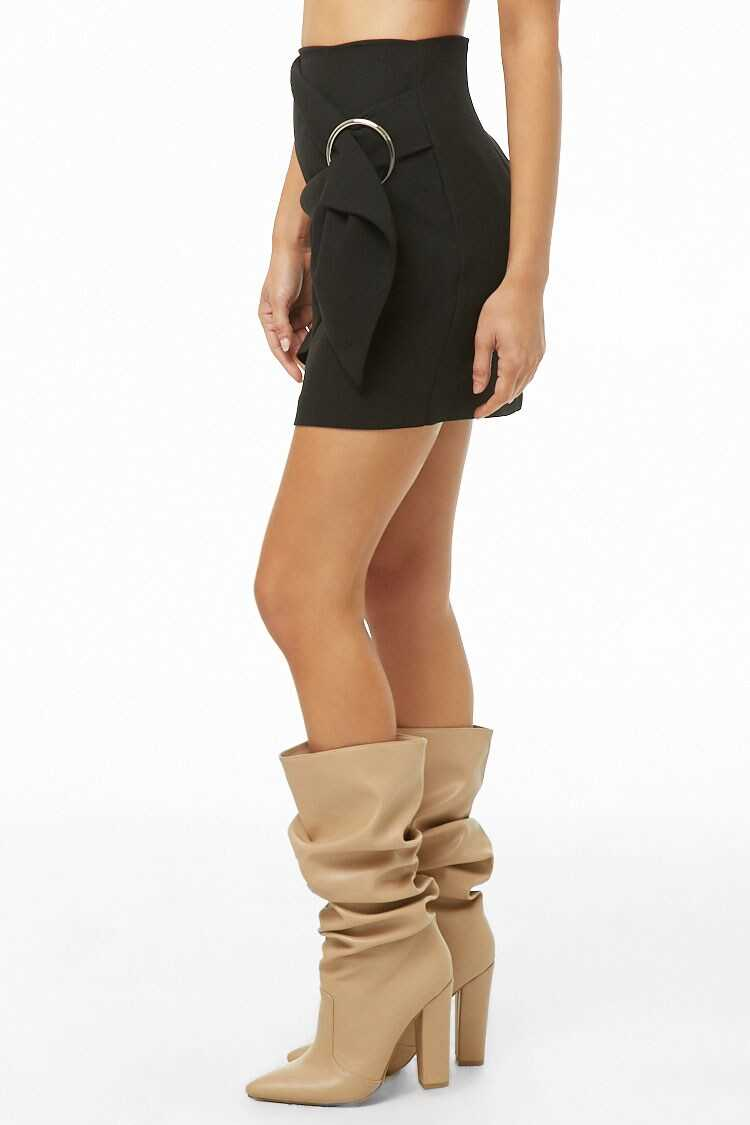Forever 21 Buckle Faux-Wrap Skirt