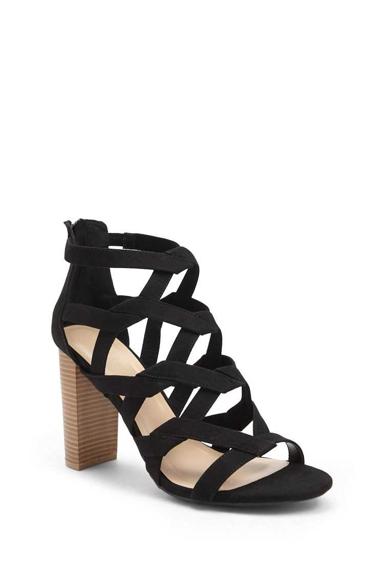 Forever 21 Caged Faux Suede Heels