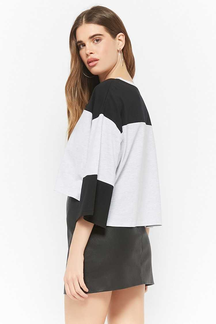 Forever 21 Colorblock Pull-Ring Crop Top