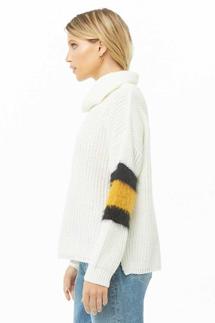Forever 21 Colorblock-Trim Cowl Neck Sweater