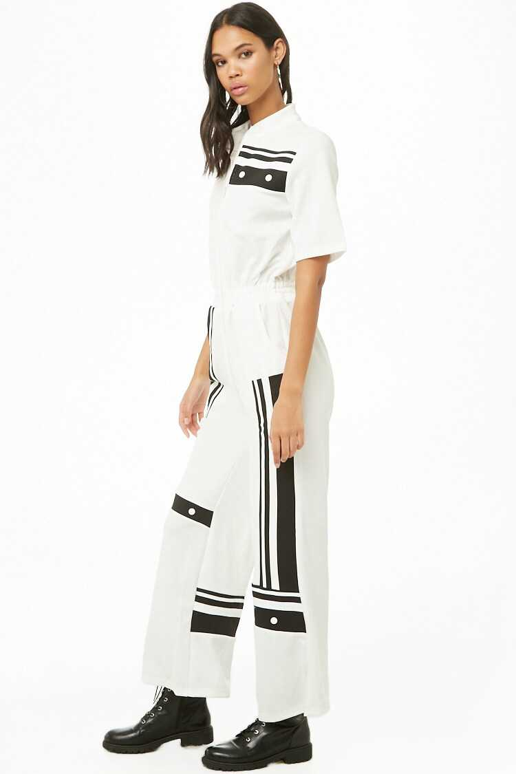 Forever 21 Contrast Stripe Zippered Jumpsuit