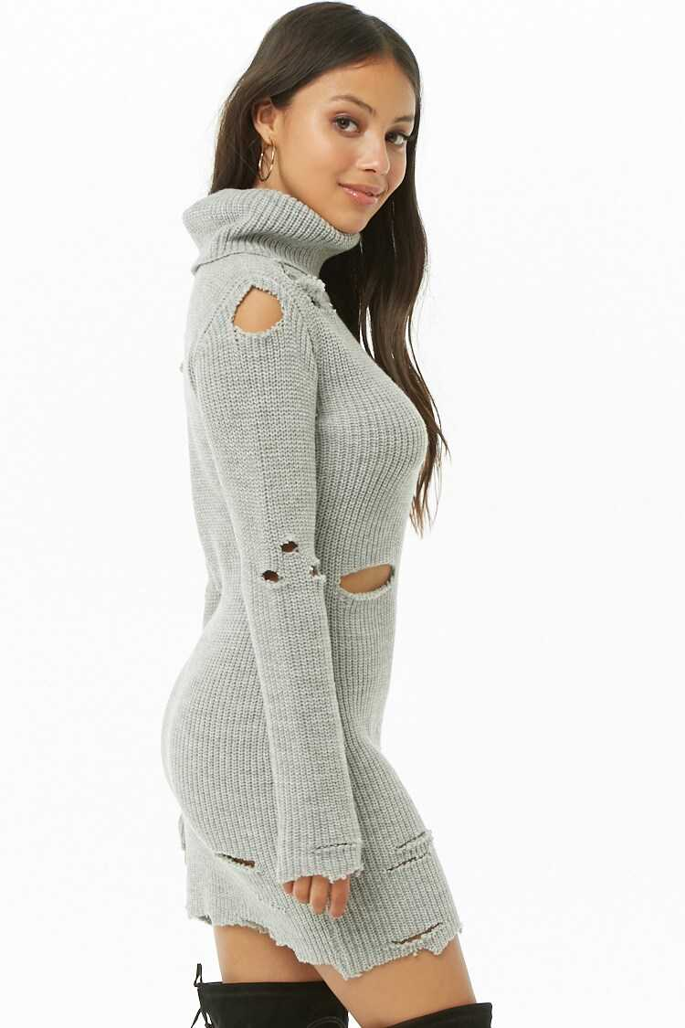 Forever 21 Distressed Ribbed Sweater Dress