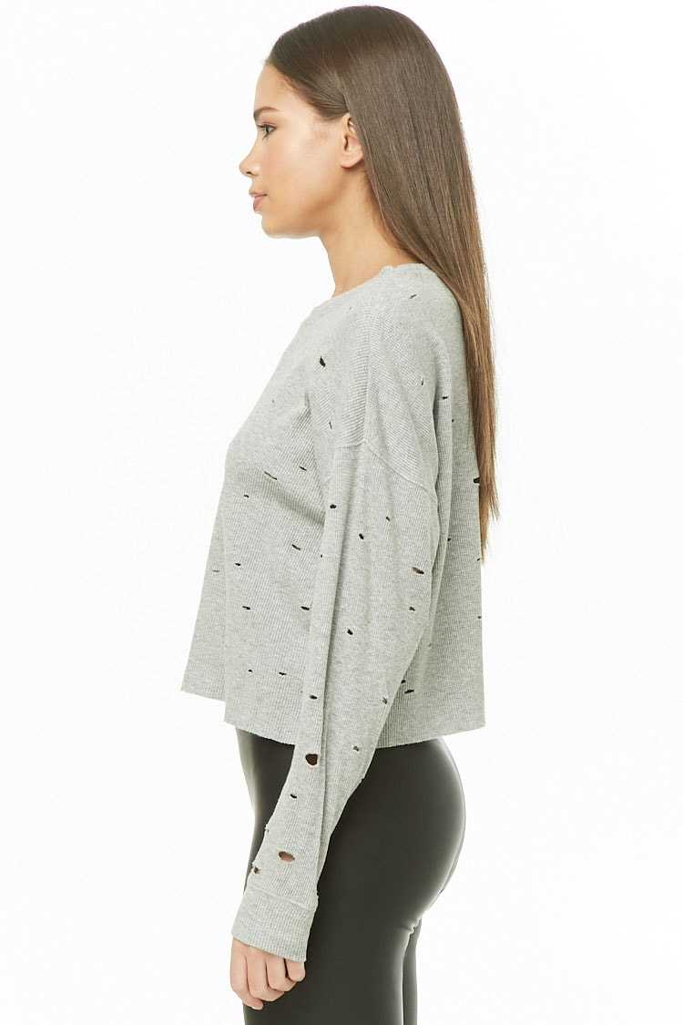 Forever 21 Distressed Thermal Top