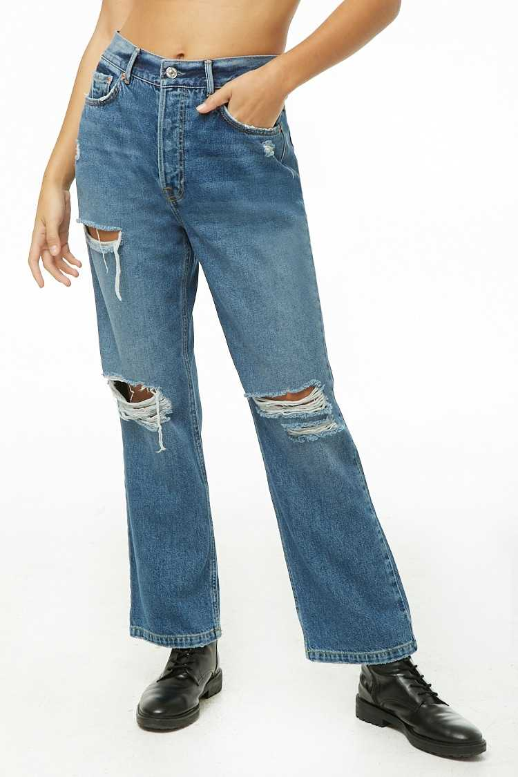 Forever 21 Distressed Wide-Leg Jeans
