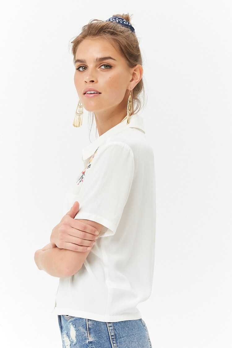 Forever 21 Embroidered Floral Shirt