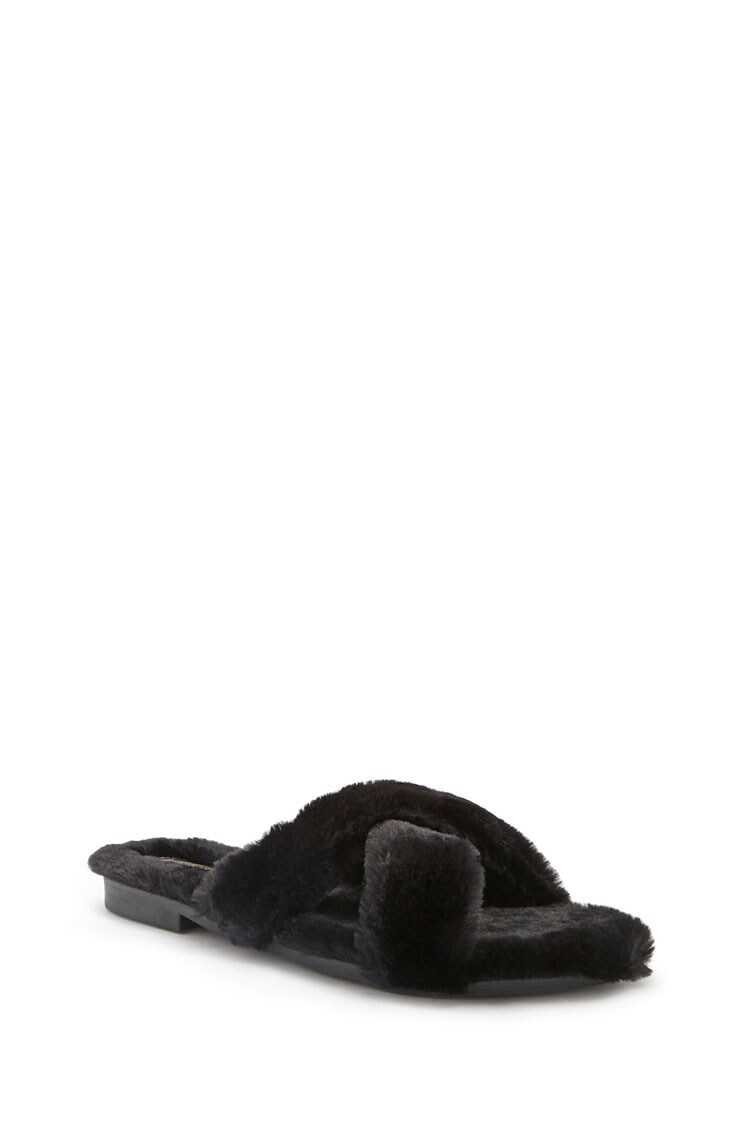 Forever 21 Faux Fur Crisscross Slipper Slides