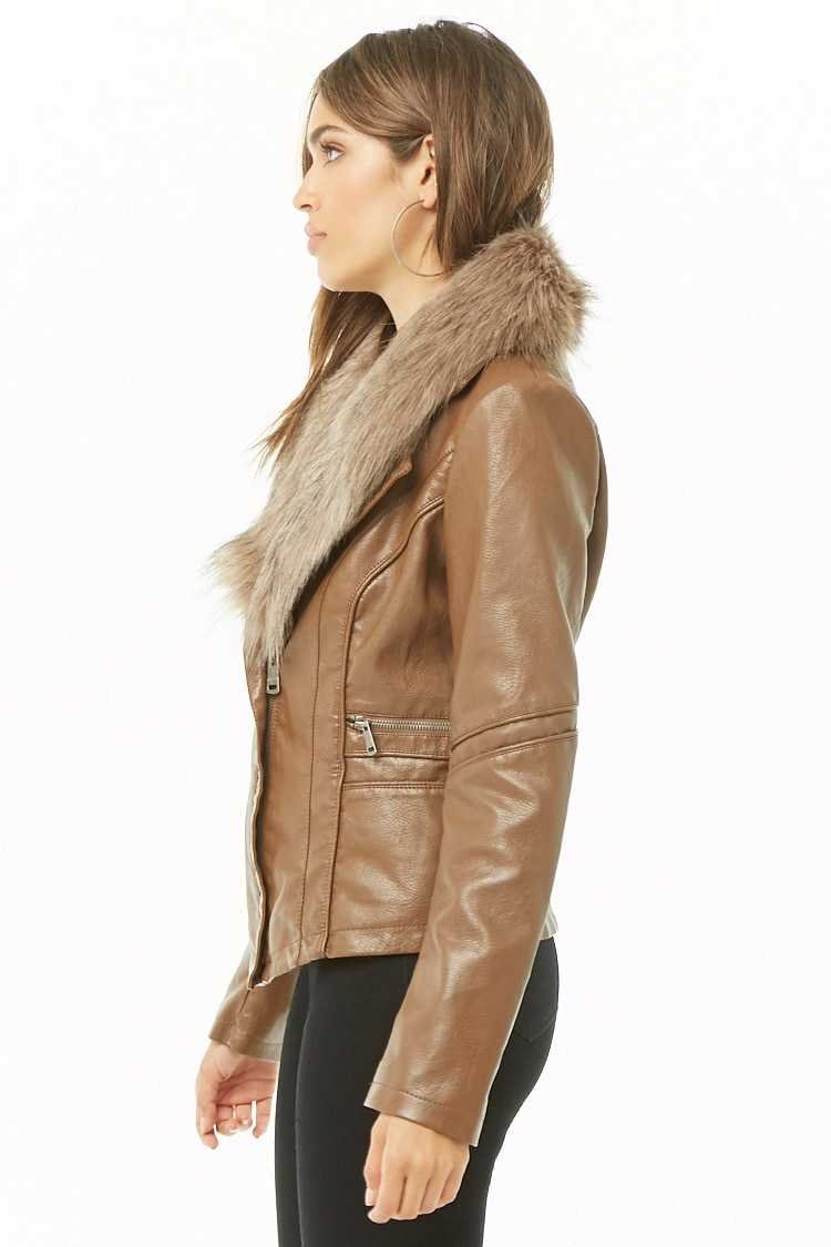 Forever 21 Faux Leather & Fur Collar Jacket