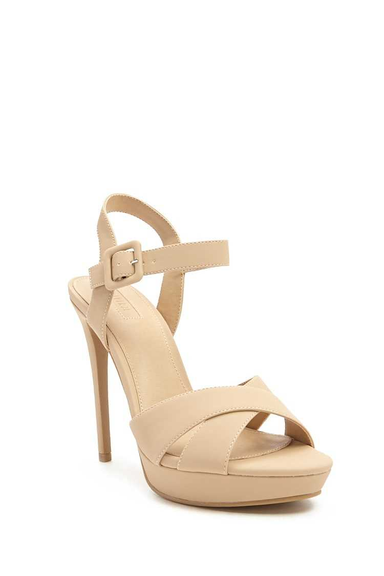 Forever 21 Faux Leather Strappy Platform Heels