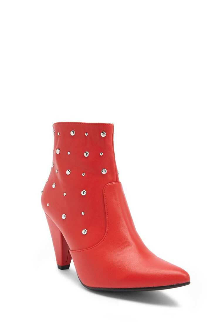 Forever 21 Faux Leather Studded Ankle Booties