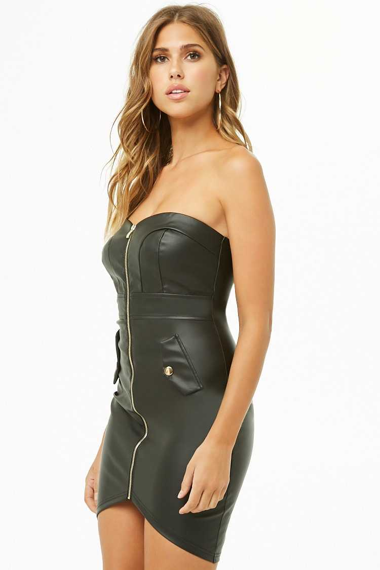 Forever 21 Faux Leather Zip-Front Tube Dress