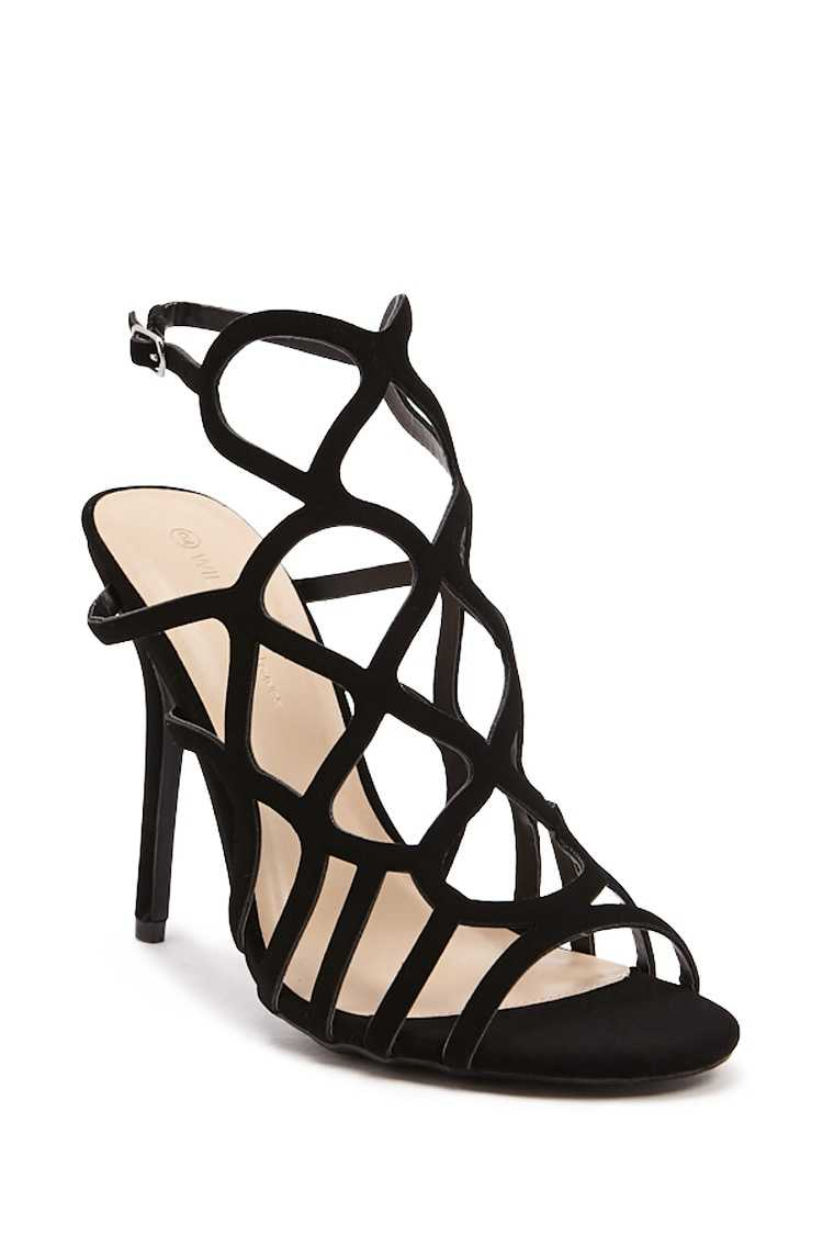 Forever 21 Faux Nubuck Caged Heels