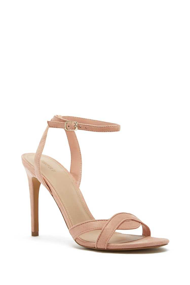 Forever 21 Faux Suede Ankle-Wrap Heels