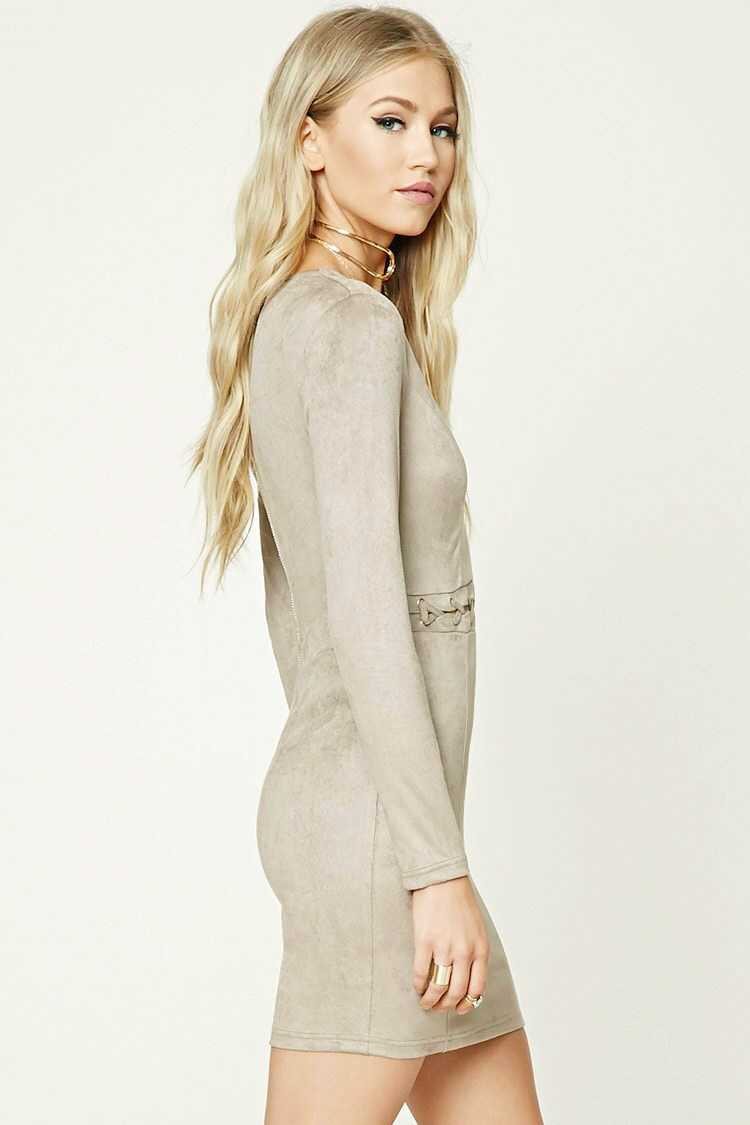 Forever 21 Faux Suede Grommet Panel Dress