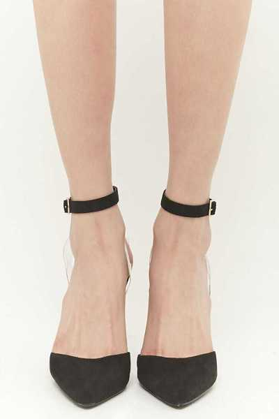 Forever 21 Faux Suede Pointed-Toe Ankle-Wrap Heels