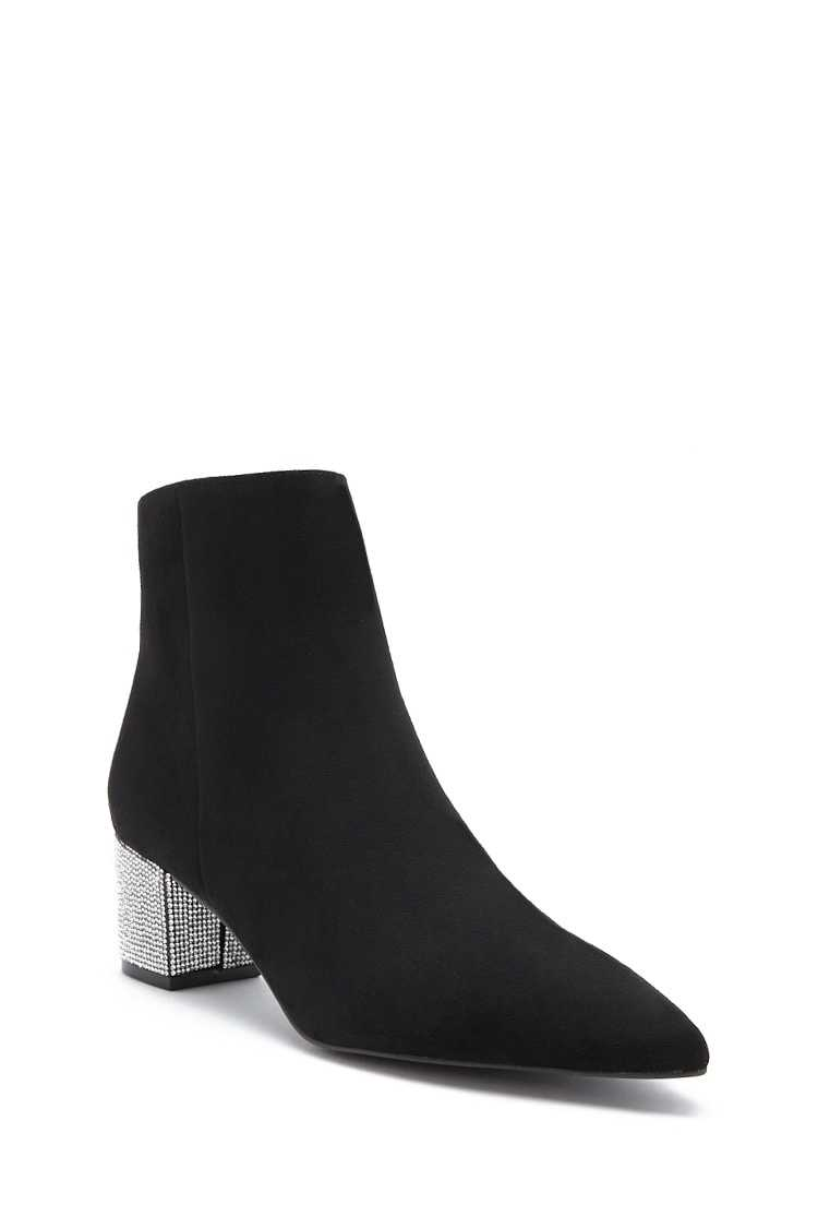 Forever 21 Faux Suede Rhinestone Ankle Booties