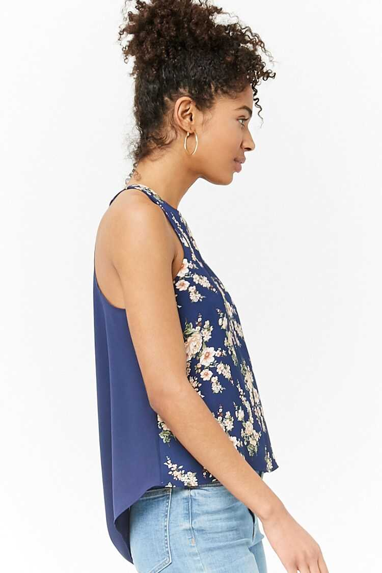 Forever 21 Floral Chiffon High-Low Top