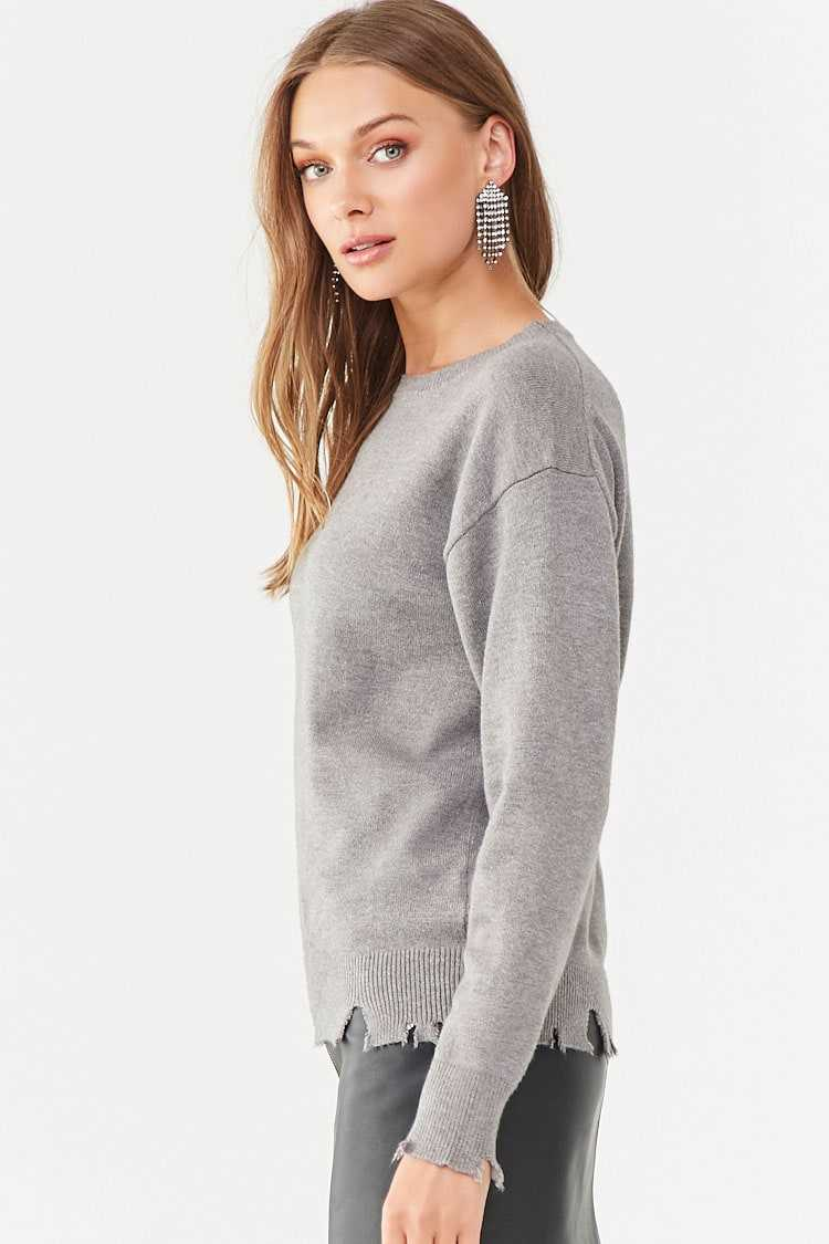 Forever 21 Frayed-Trim Sweater