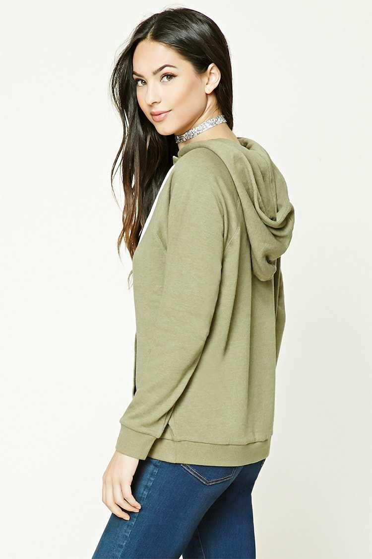 Forever 21 French Terry Lace-Up Hoodie