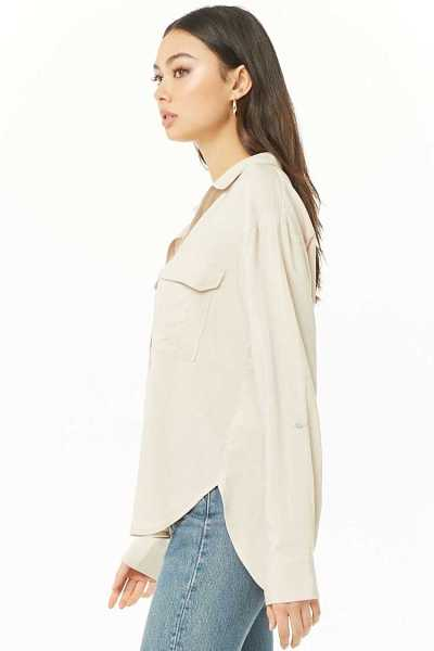 Forever 21 High-Low Button-Front Shirt