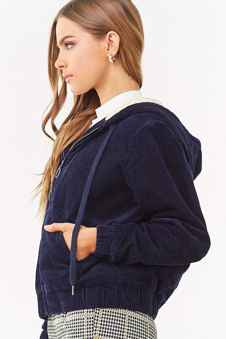 Forever 21 Hooded Faux Shearling-Lined Corduroy Jacket