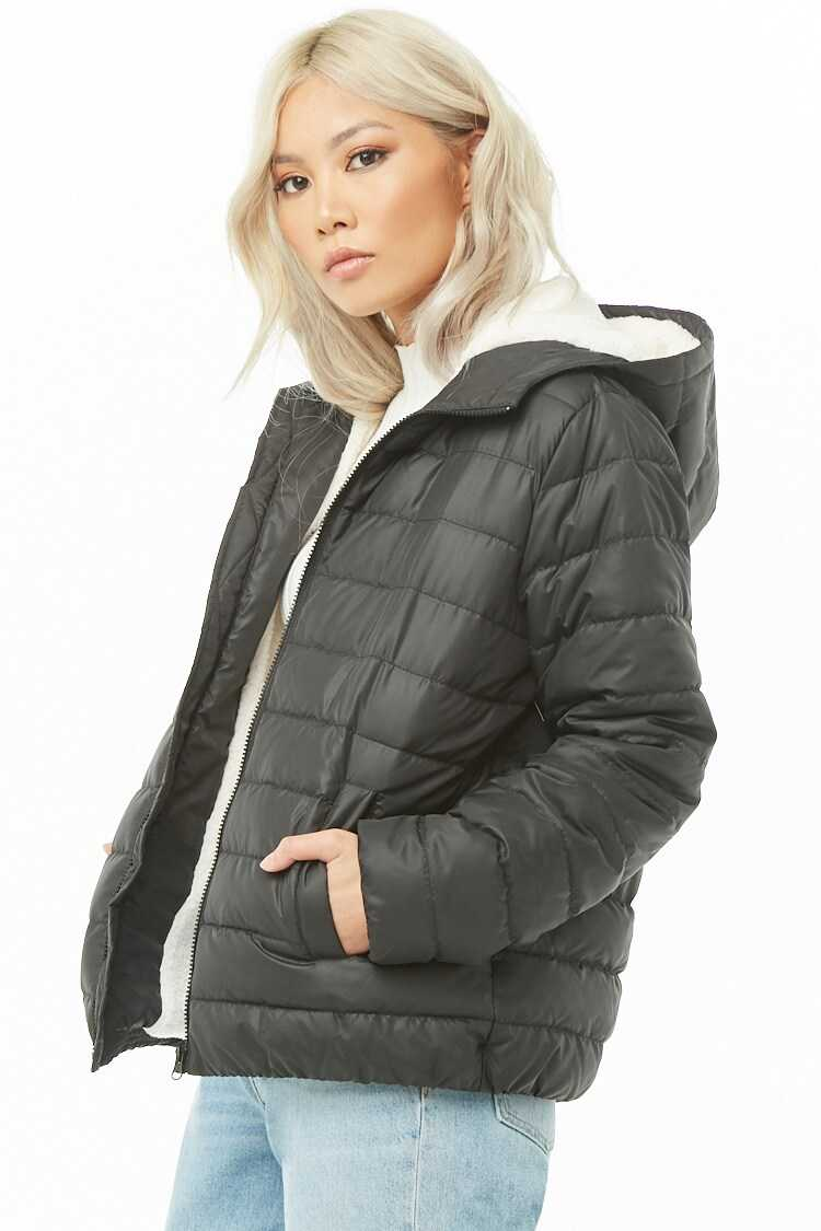 Forever 21 Hooded Faux Shearling-Lined Puffer Jacket