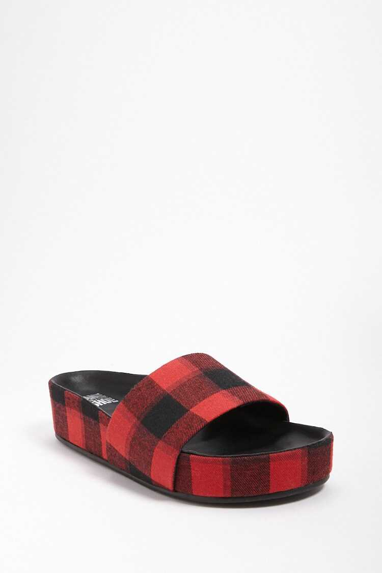 Forever 21 Jane and the Shoe Plaid Slides