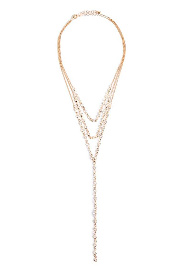 Forever 21 Layered Beaded Drop Necklace