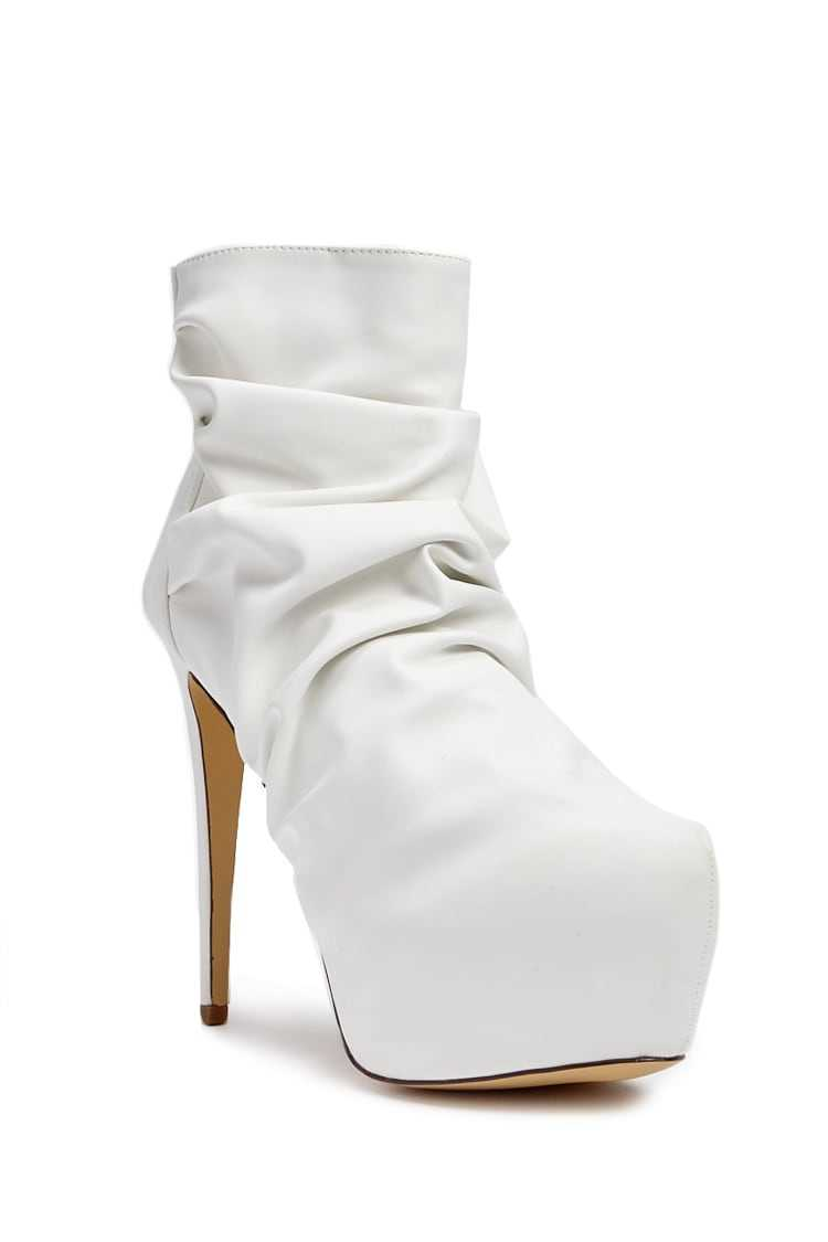 Forever 21 Lemon Drop by Privileged Ruched Platform Booties