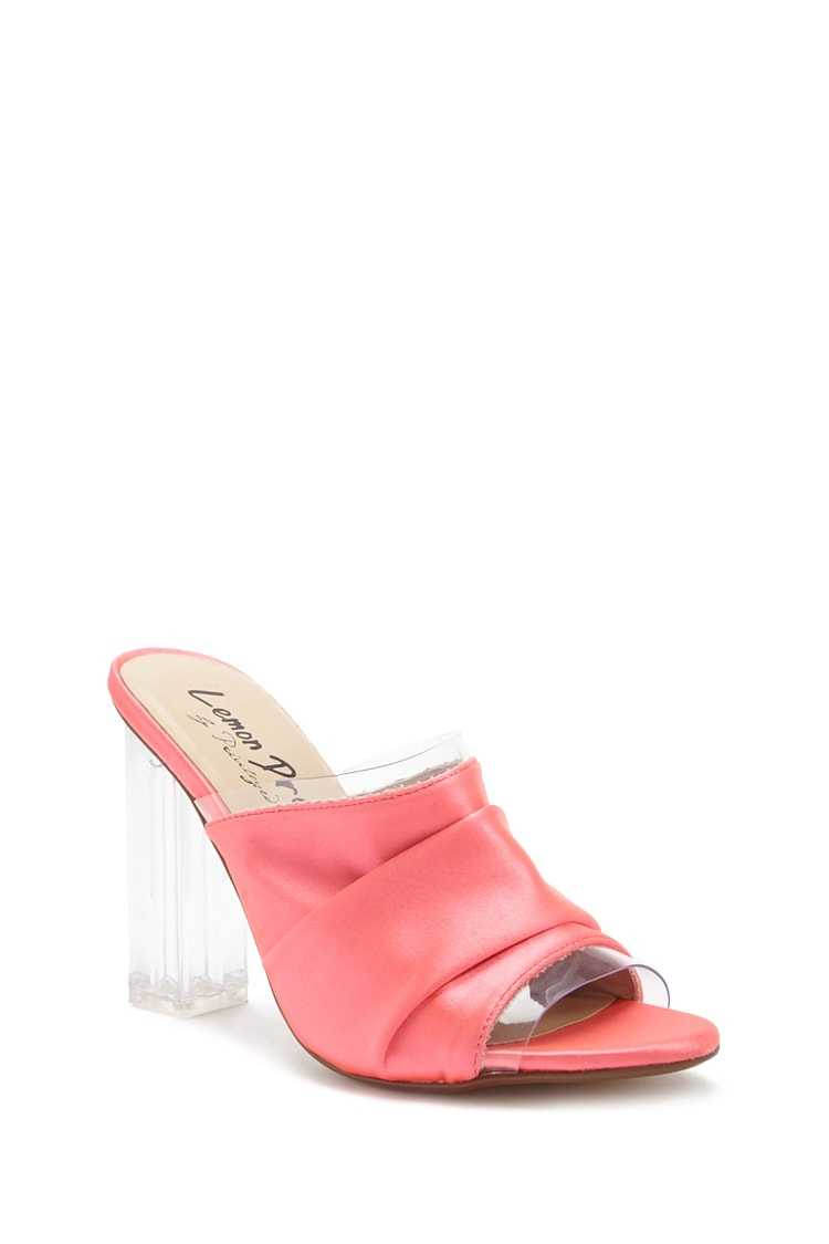 Forever 21 Lemon Drop by Privileged Satin Ruched Mules