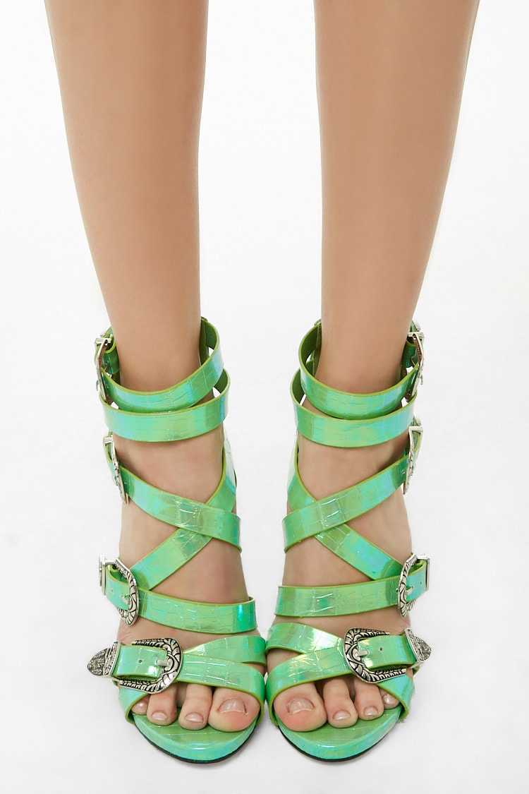 Forever 21 Lemon Drop by Privileged Strappy Stiletto Heels
