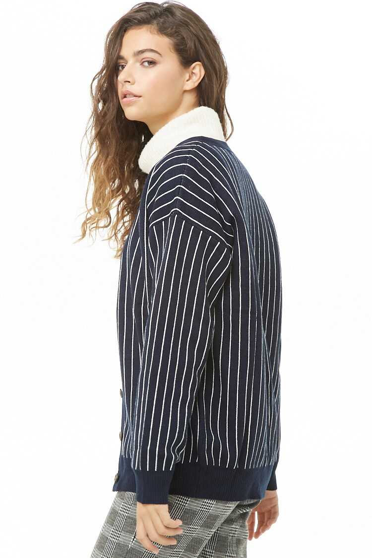 Forever 21 Pinstriped Button-Front Cardigan