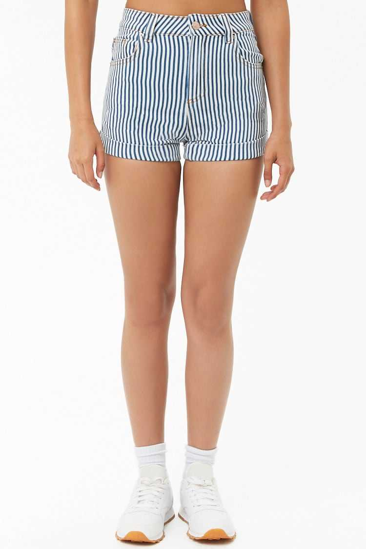 Forever 21 Pinstriped High-Rise Shorts