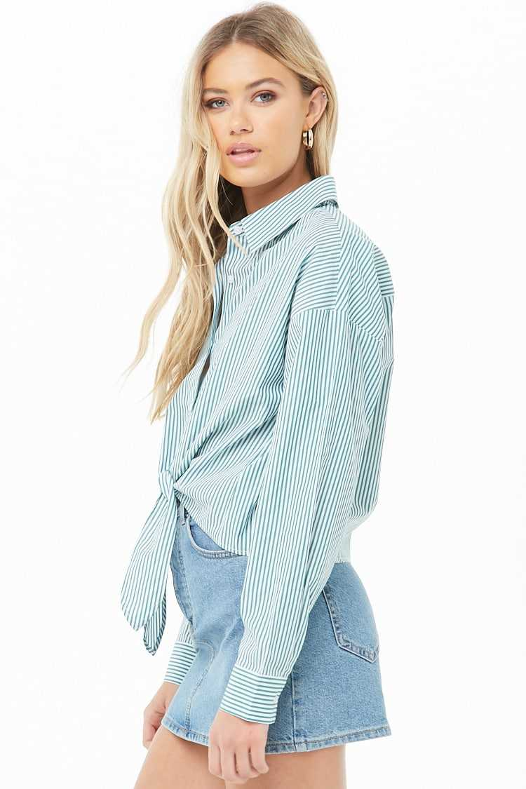 Forever 21 Pinstriped Tie-Front Shirt