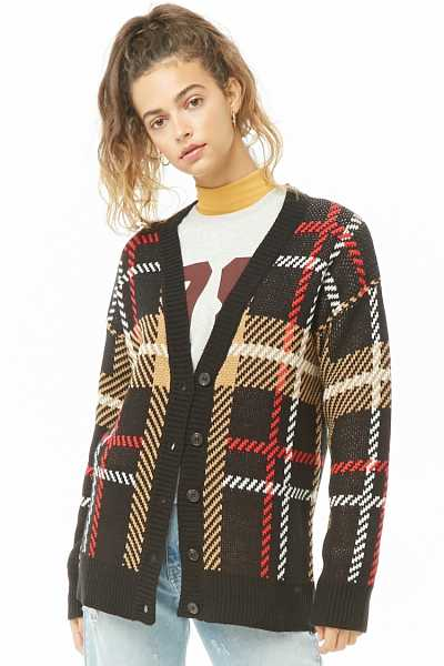 Forever 21 Plaid Button-Front Cardigan