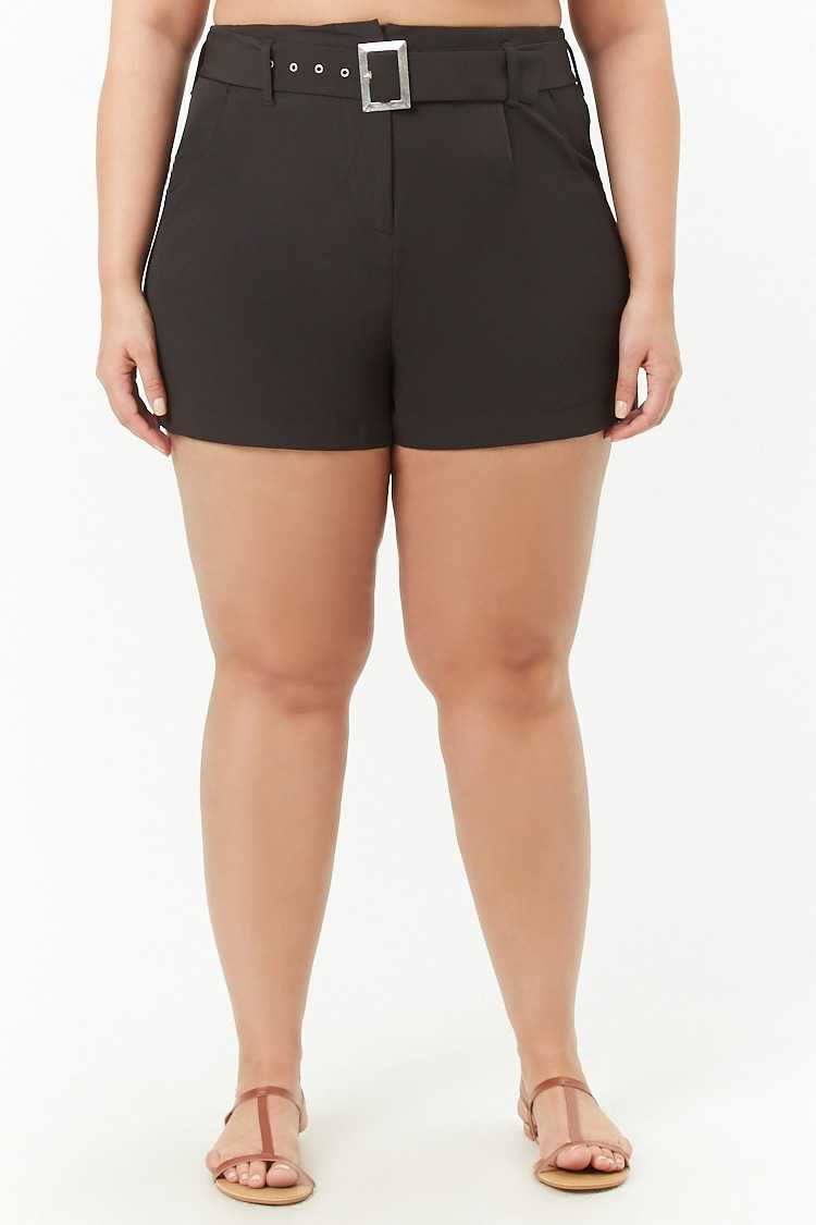 Forever 21 Plus Size Belted High-Waist Shorts