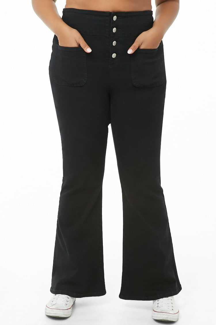 Forever 21 Plus Size Button-Fly Flare Jeans