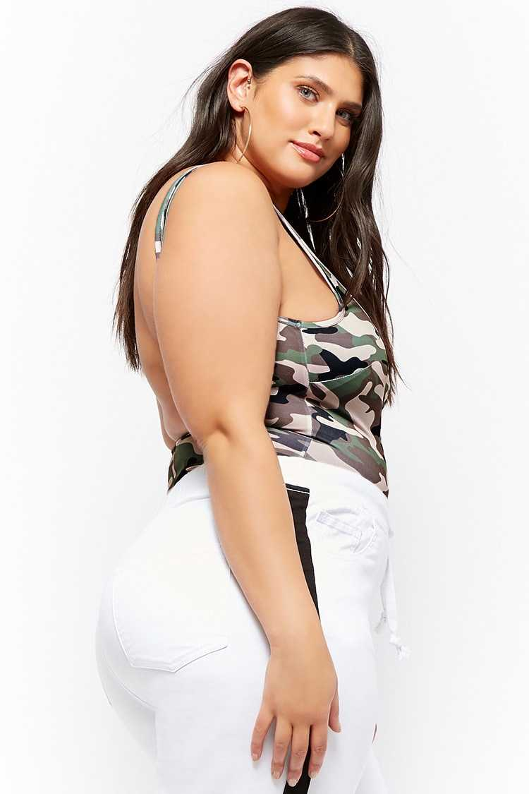 Forever 21 Plus Size Camo Scoop-Back Bodysuit