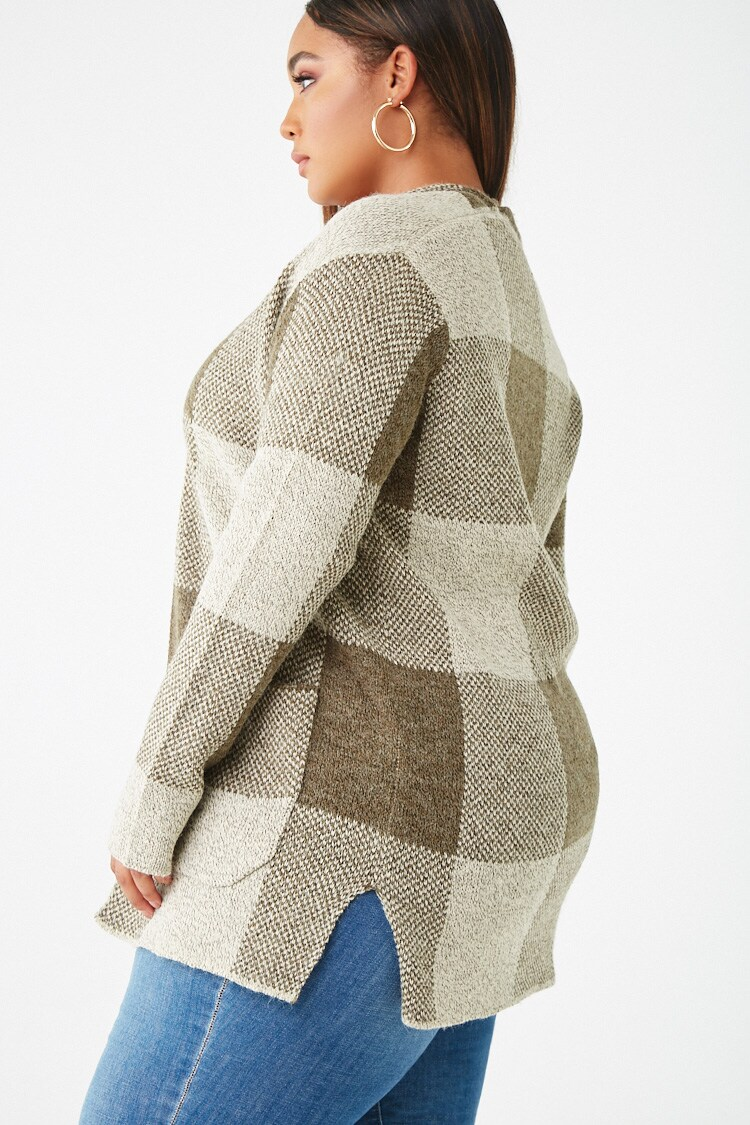 Forever 21 Plus Size Plaid Open-Front Cardigan
