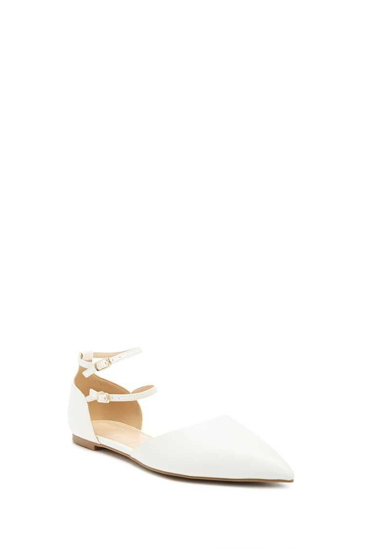 Forever 21 Pointed Faux Leather Ankle-Strap Flats