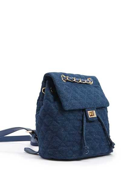 Forever 21 Quilted Denim Flap Backpack