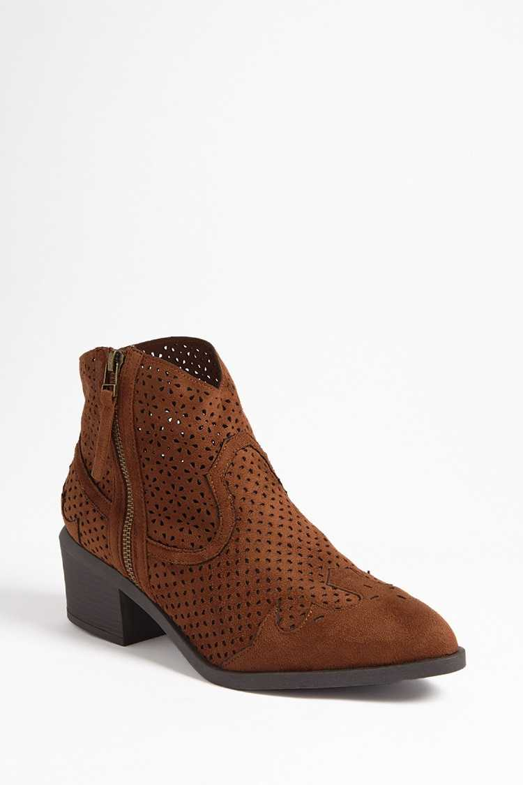 Forever 21 Qupid Faux Suede Cutout Boots
