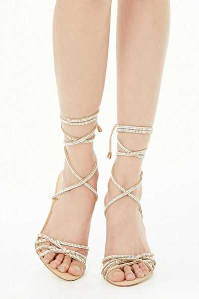 Forever 21 Rhinestone Ankle Wrap Heels