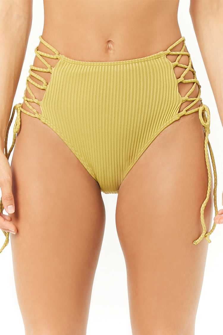 Forever 21 Ribbed Lace-Up Bikini Bottoms