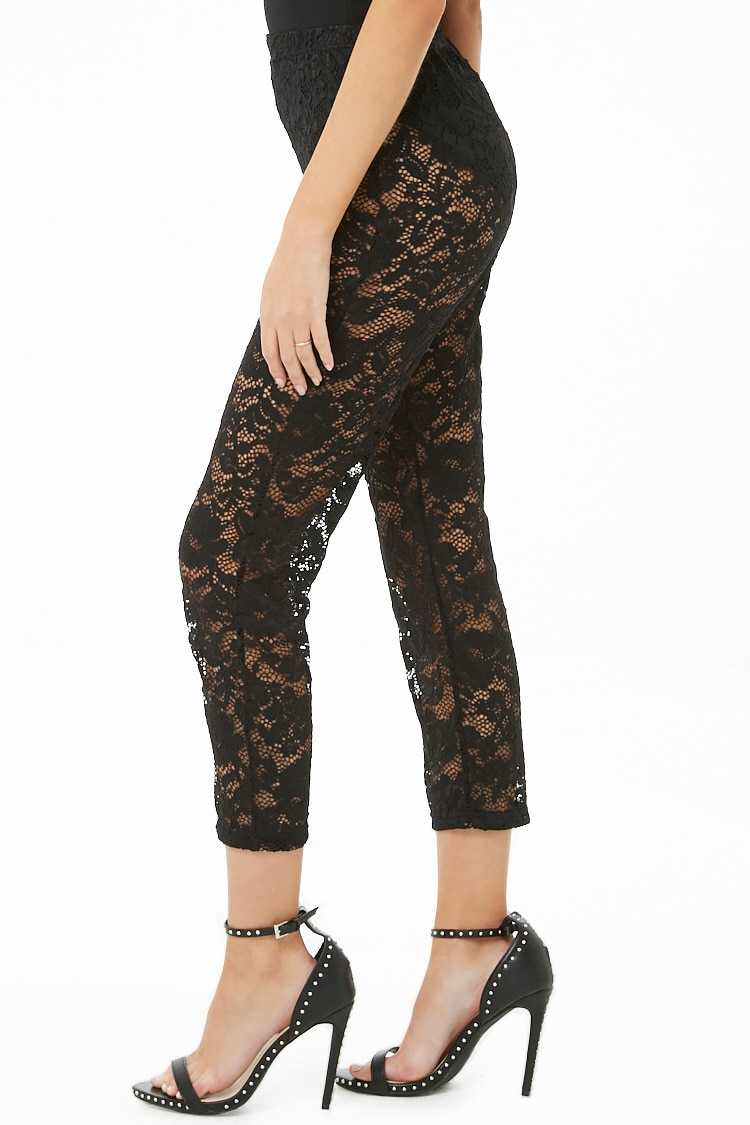 Forever 21 Sheer Floral Lace Pants