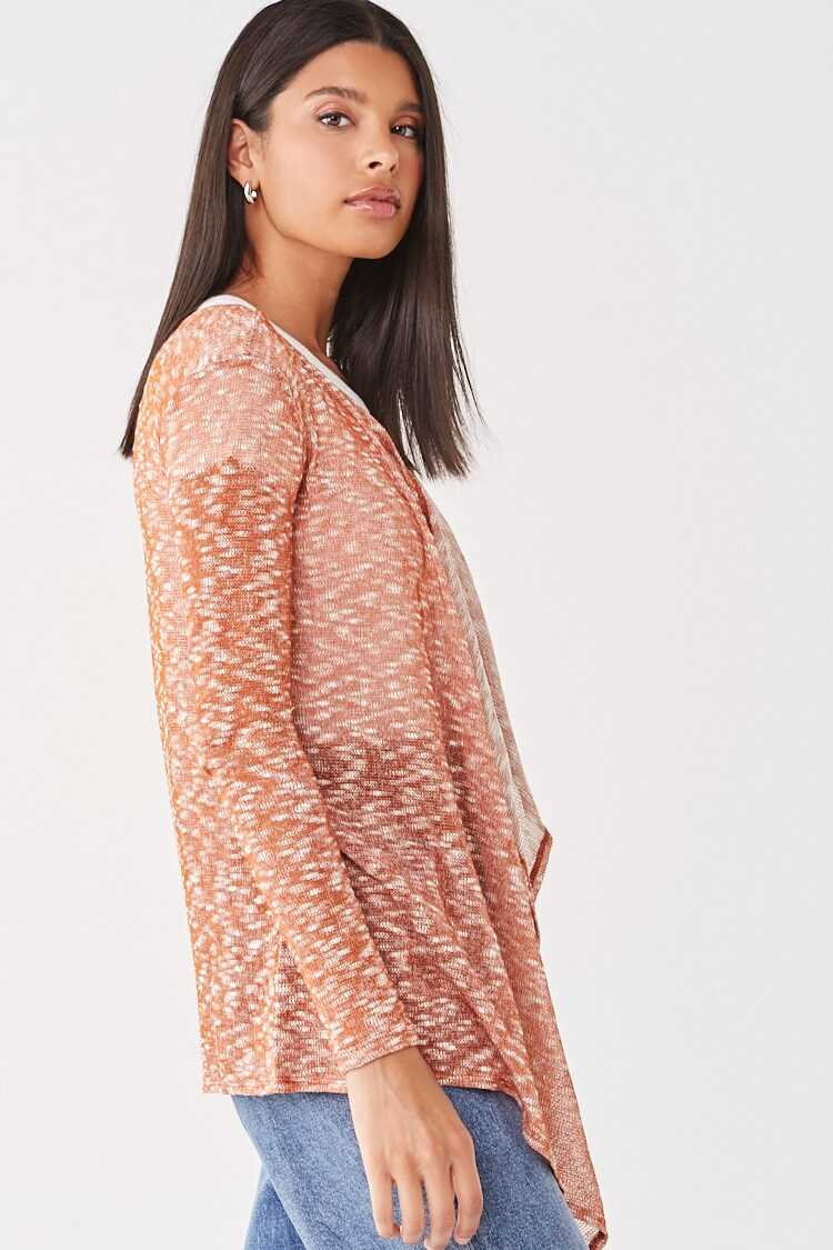 Forever 21 Sheer Marled Open-Front Cardigan