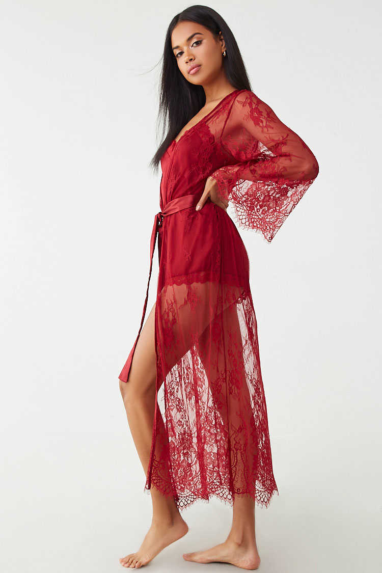 Forever 21 Sheer Scalloped Lace Robe